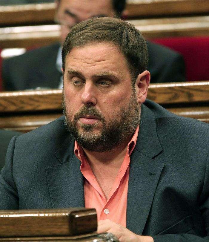 El líder de ERC, Oriol Junqueras, en el debate de política general. Foto: Toni Garriga/EFE en español