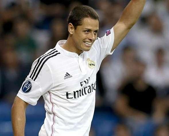 'Chicharito' Hernández jugó sus primeros minutos de Champions League como jugadore del Real Madrid. Foto: EFE