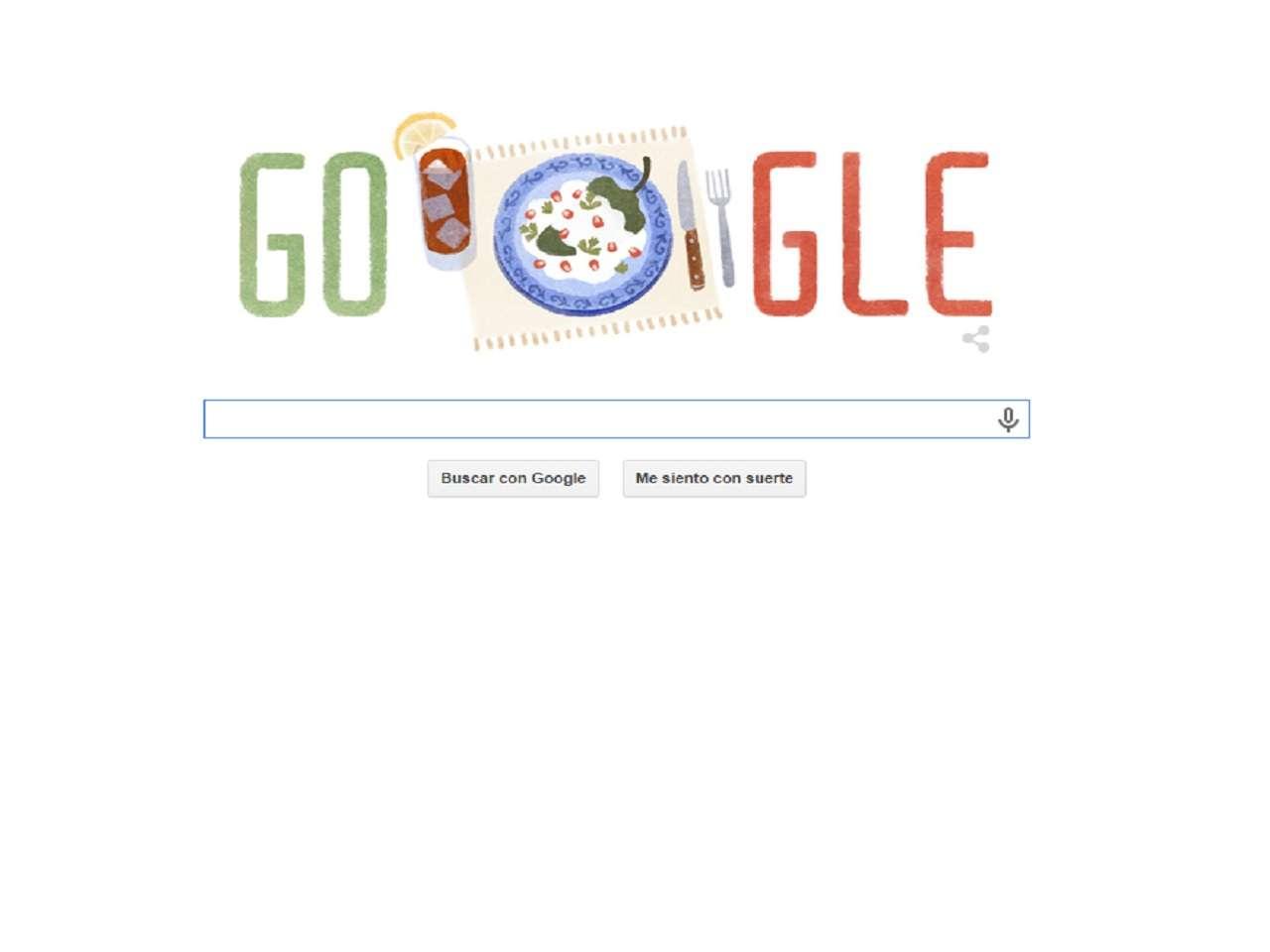 Desde los primero minutos de este 16 de septiembre, Google dedicó su doodle al Día de la Independencia de México 2014 con una imagen representativa de la gastronomía nacional. Foto: Google