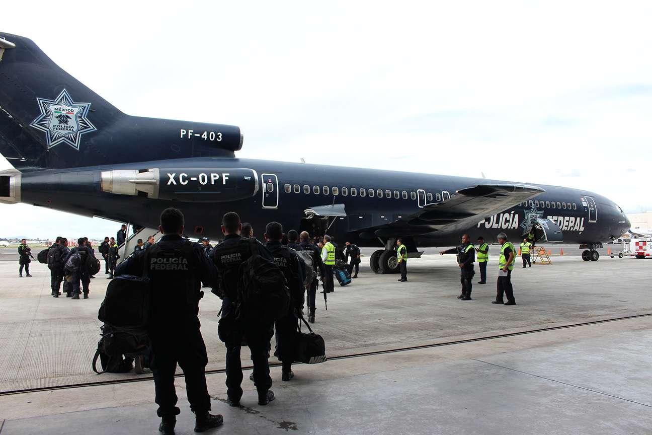 Policías Federales vuelan a BCS para dar apoyo por 'Odile' Foto: Comisión Nacional de Seguridad (CNS)