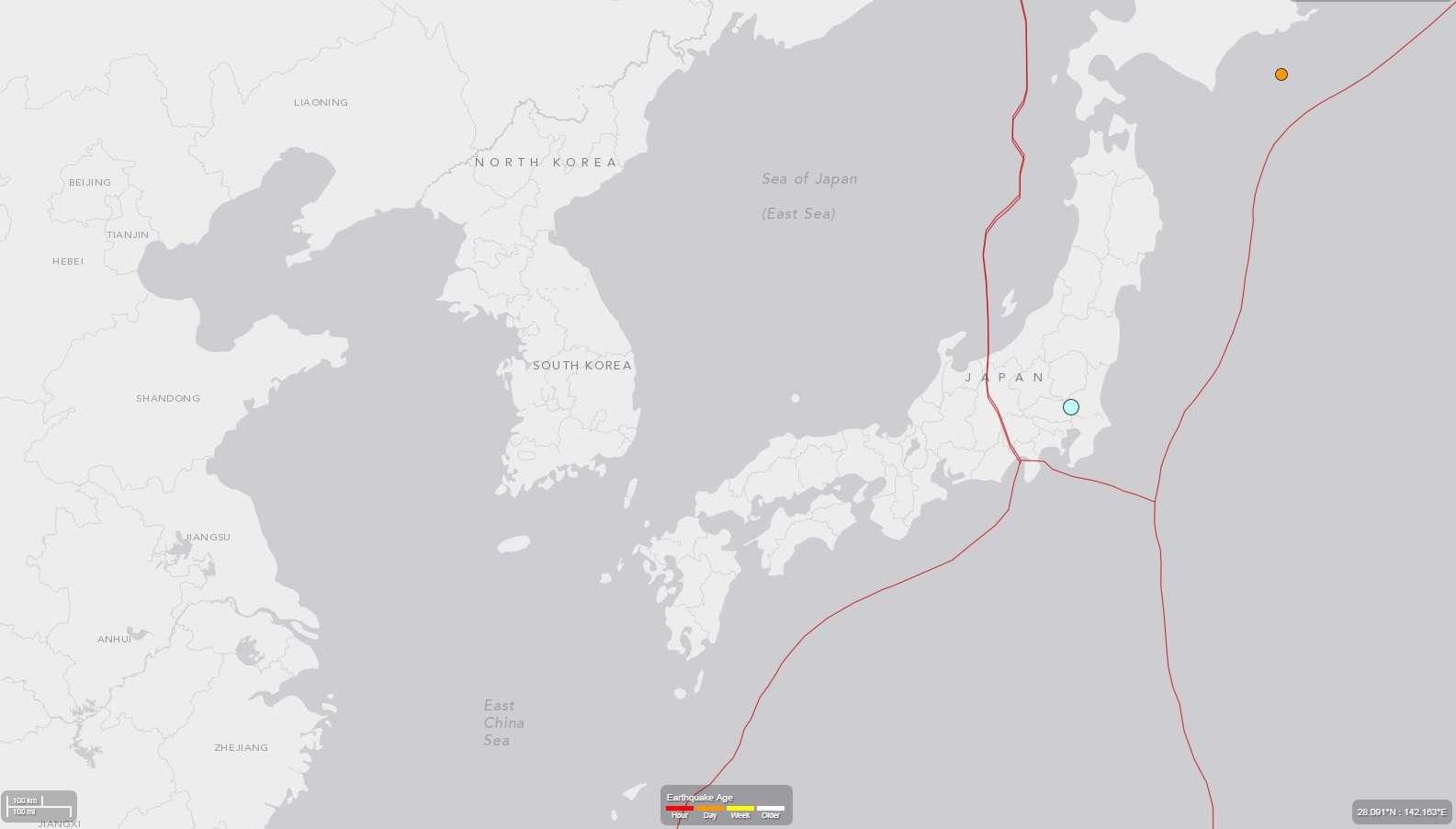 Terremoto foi sentido na cidade de Tóquio, mas não houve relatos de feridos e mortos Foto: USGS/Reprodução