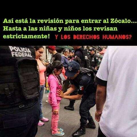"""A unas horas de que el presidente Enrique Peña Nieto realice el Grito de Dolores en el Zócalo capitalino, usuarios de redes sociales denunciaron que las medidas de seguridad en torno al Primer Cuadro de la Ciudad son excesivas y que hay presencia de """"acarreados"""". Foto: Tomada de Twitter"""