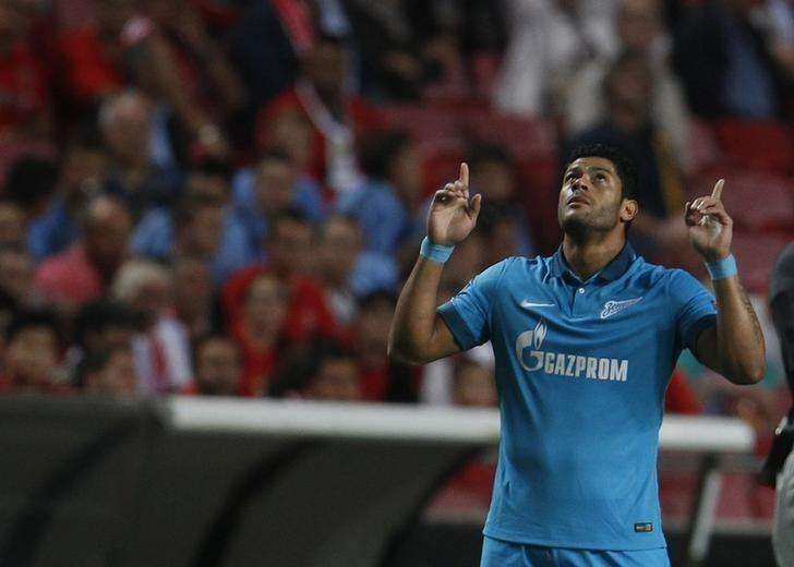 Zenit's Hulk celebrates his goal against Benfica during their Champions League Group C soccer match at Luz stadium in Lisbon September 16, 2014. Foto: Rafael Marchante/Reuters