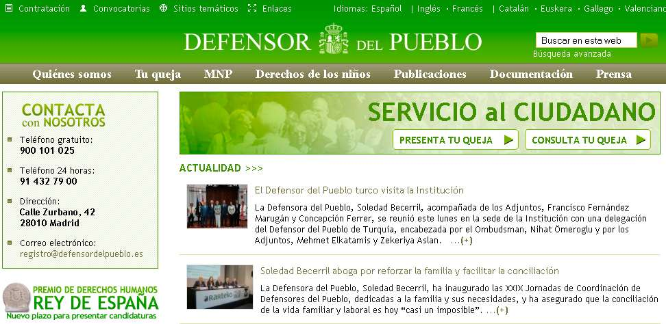 Web del Defensor del Pueblo Foto: defensordelpueblo.es
