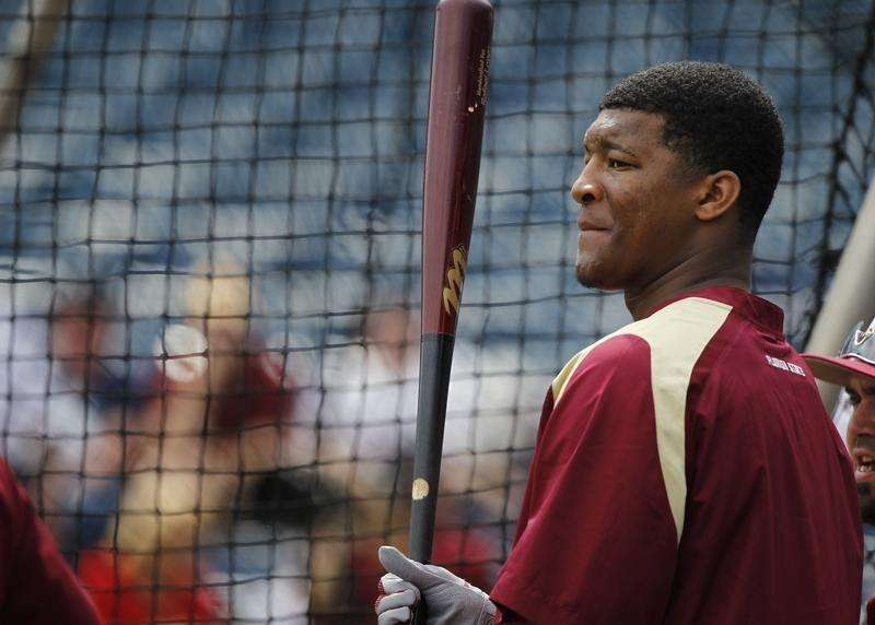 Feb 25, 2014; Tampa, FL, USA; Florida State Seminoles pitcher/outfielder Jameis Winston (44) works out prior to the game against the New York Yankees at George M. Steinbrenner Field. Mandatory Credit: Kim Klement-USA TODAY Sports. Foto: Reuters