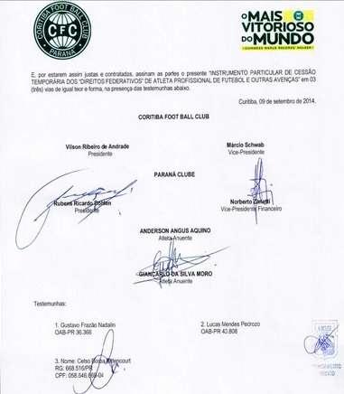 Contrato não foi assinado pelo Coritiba Foto: Guilherme Moreira/PGTM Comunicação - Especial para o Terra