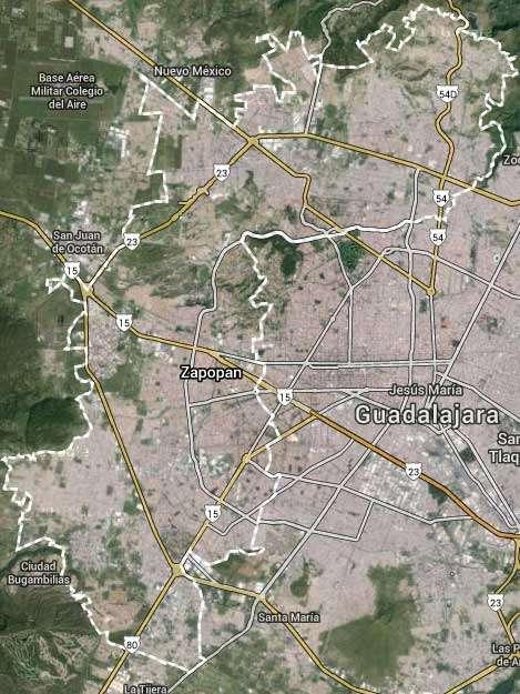 El presunto narcotraficante fue capturado en el Municipio de Zapopan mientras se trasladaba en un vehículo acompañado de Felipe Misael Angulo Rentería y Juan Carlos Beltrán Ayala. Foto: Google Maps