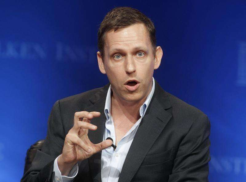 "Peter Thiel, partner of Founders Fund, speaks during the panel discussion ""In Tech We Trust? A Debate with Peter Thiel and Marc Andreessen"" at the Milken Institute Global Conference in Beverly Hills, California April 29, 2013. Foto: Fred Prouser/Reuters"