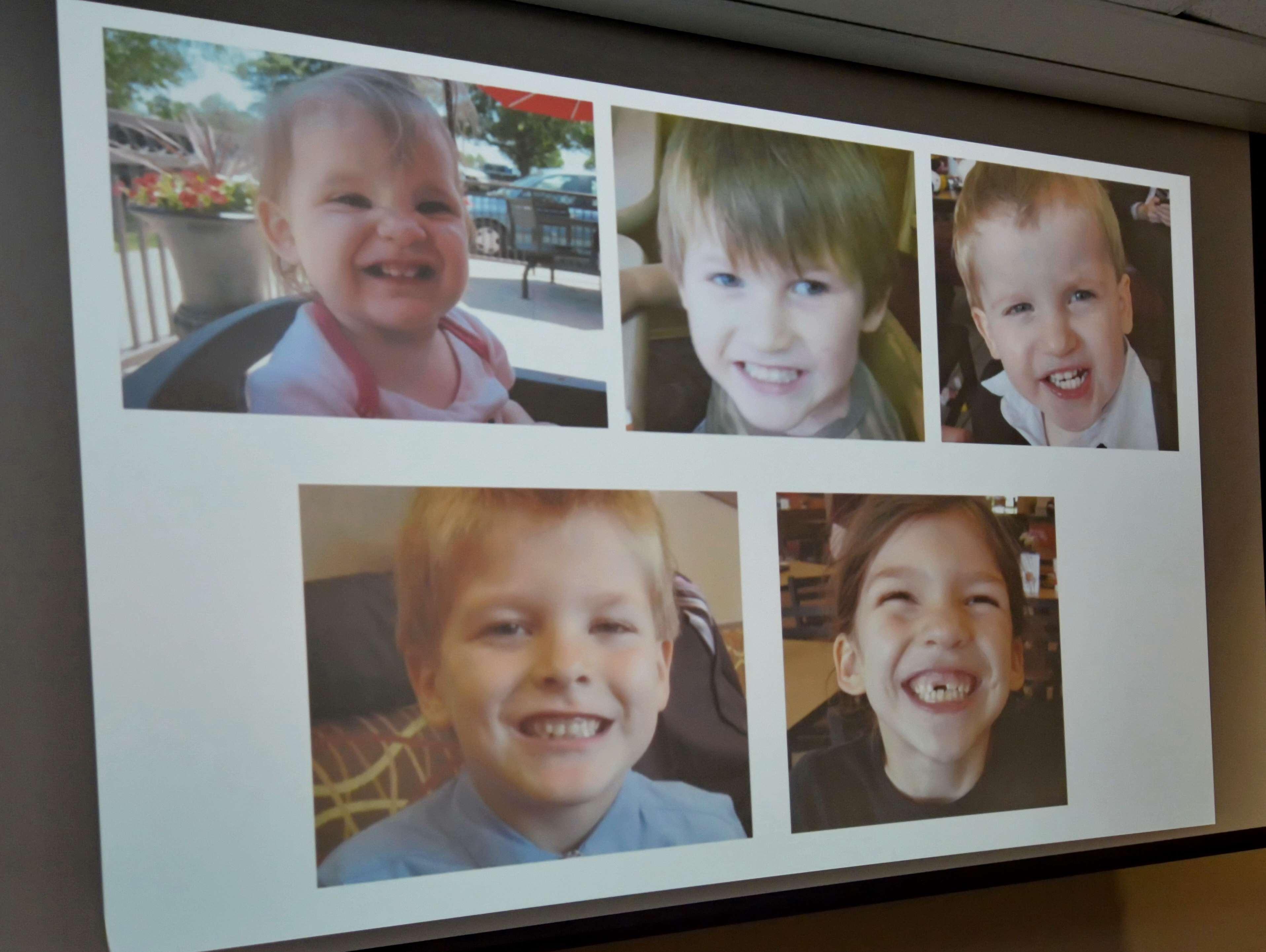 La imagen de las pequeñas víctimas de Timothy Ray Jones Jr. fue mostrada durante una conferencia de prensa en Lexington, el 10 de septiembre de 2014. Foto: AP en español