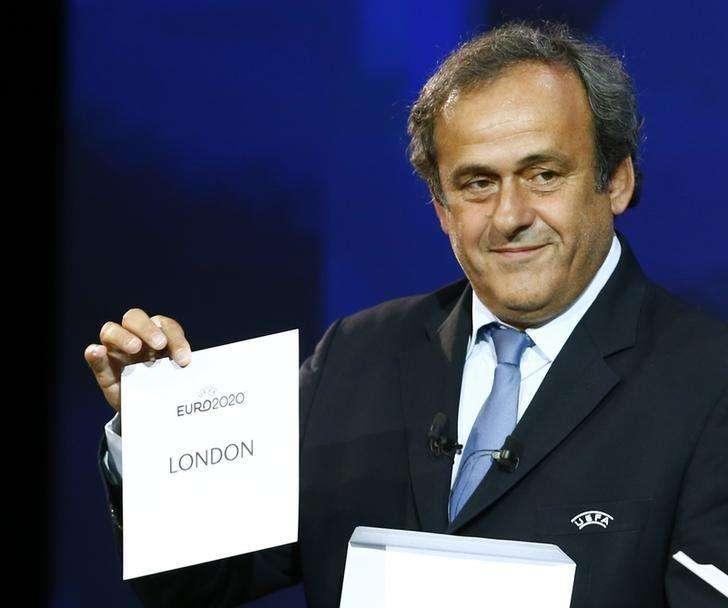 Platini durante evento da Euro 2020 em Genebra nesta sexta-feira. Foto: Denis Balibouse/Reuters