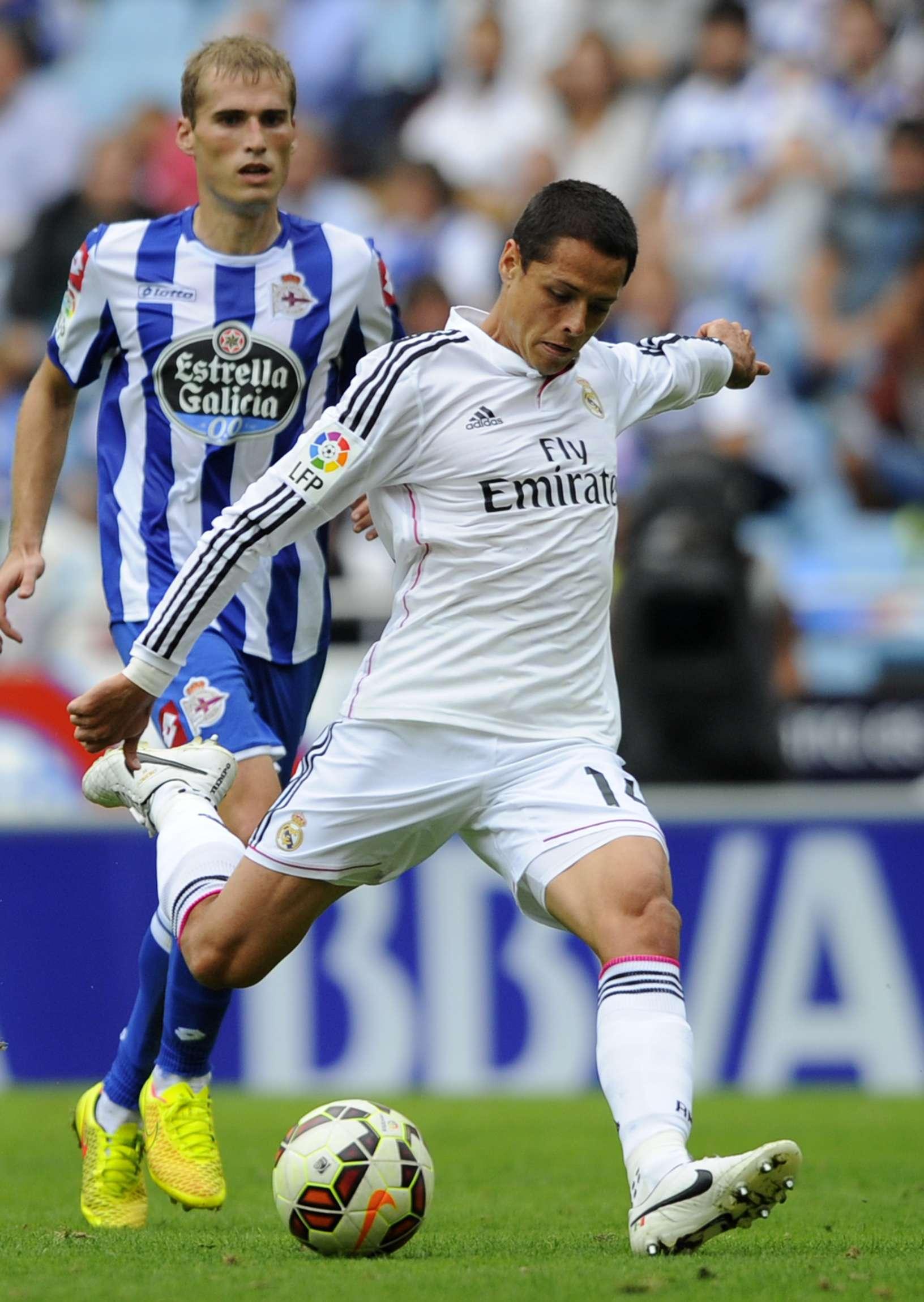 """Javier """"Chicharito"""" Hernández se lució en el triunfo del Real Madrid 8-2 sobre Deportivo La Coruña. Foto: Getty Images"""