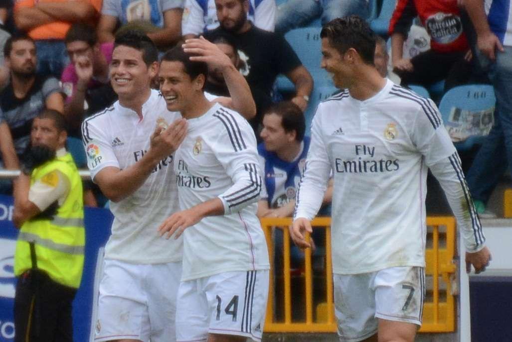 """Javier """"Chicharito"""" Hernández al entrar al juego ante Deportivo por Bale. Foto: Jam Media"""