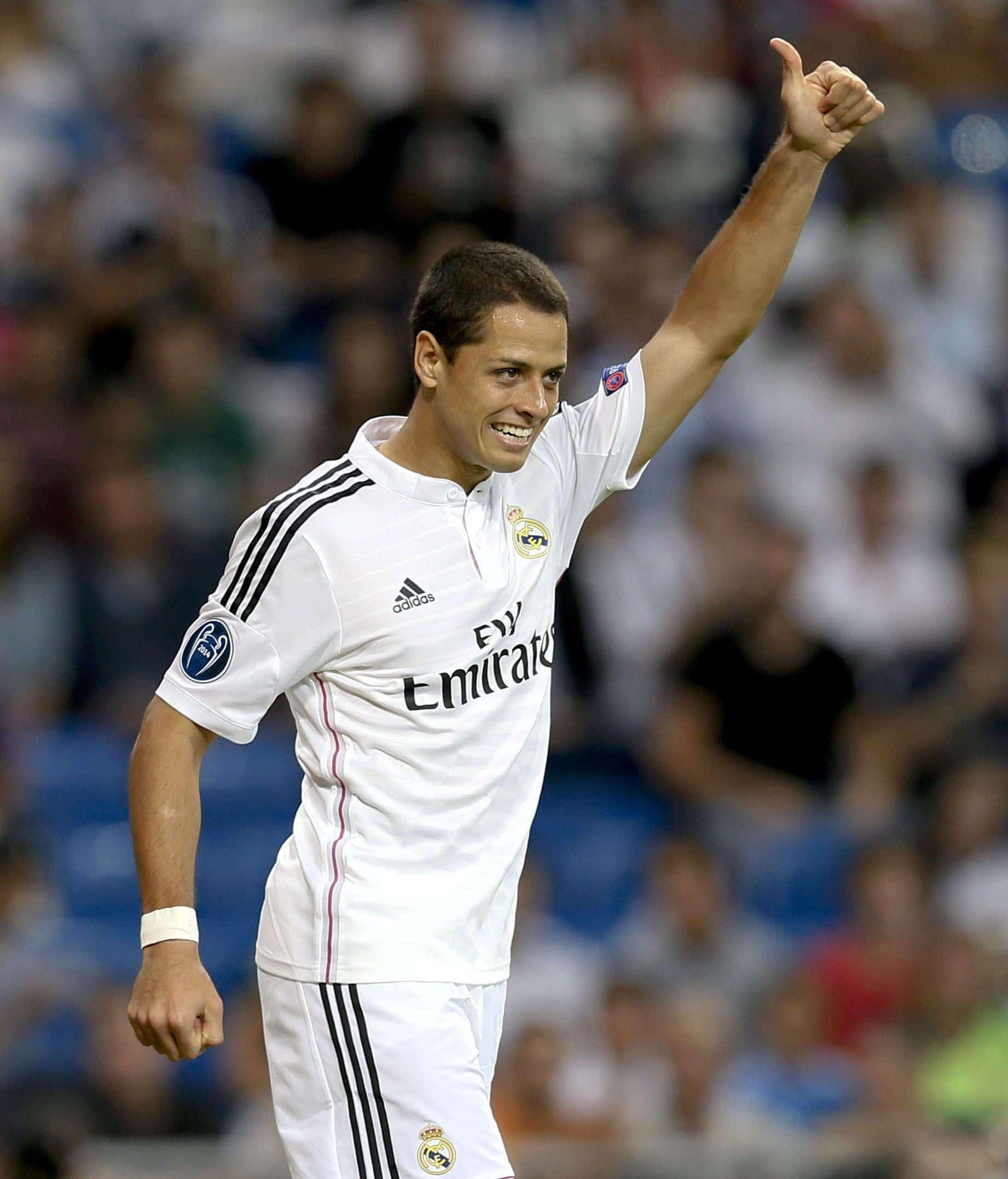 """Javier """"Chicharito"""" Hernández anotó dos goles en la goleada del Real Madrid ante Deportivo La Coruña. Foto: EFE"""