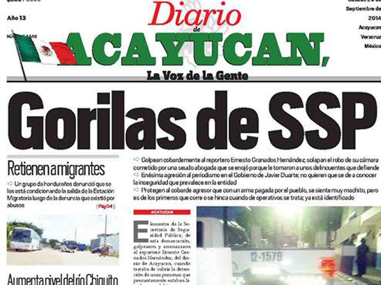 El Diario de Acayucán, en el que Granados Hernández trabaja, denunció el hecho en su edición de este sábado Foto: Imagen tomada de Facebook/Diario de Acayucan