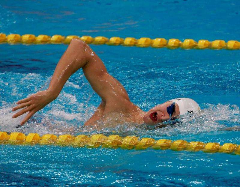 China's Sun Yang swims at Munhak Park Tae-hwan Aquatics Center during a practice session for the swimming competition for the 17th Asian Games in Incheon September 17, 2014. Foto: Kim Kyung-Hoon/Reuters