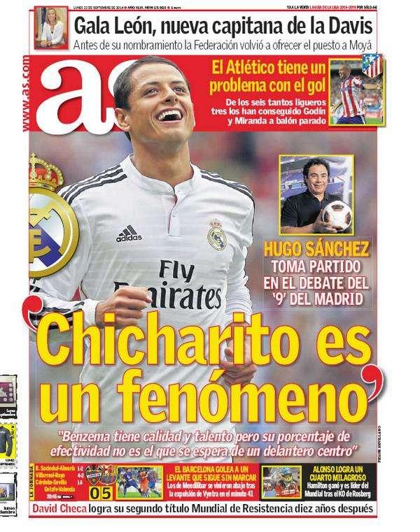 La entrevista con Hugo fue la portada del diario AS, este lunes. Foto: Twitter