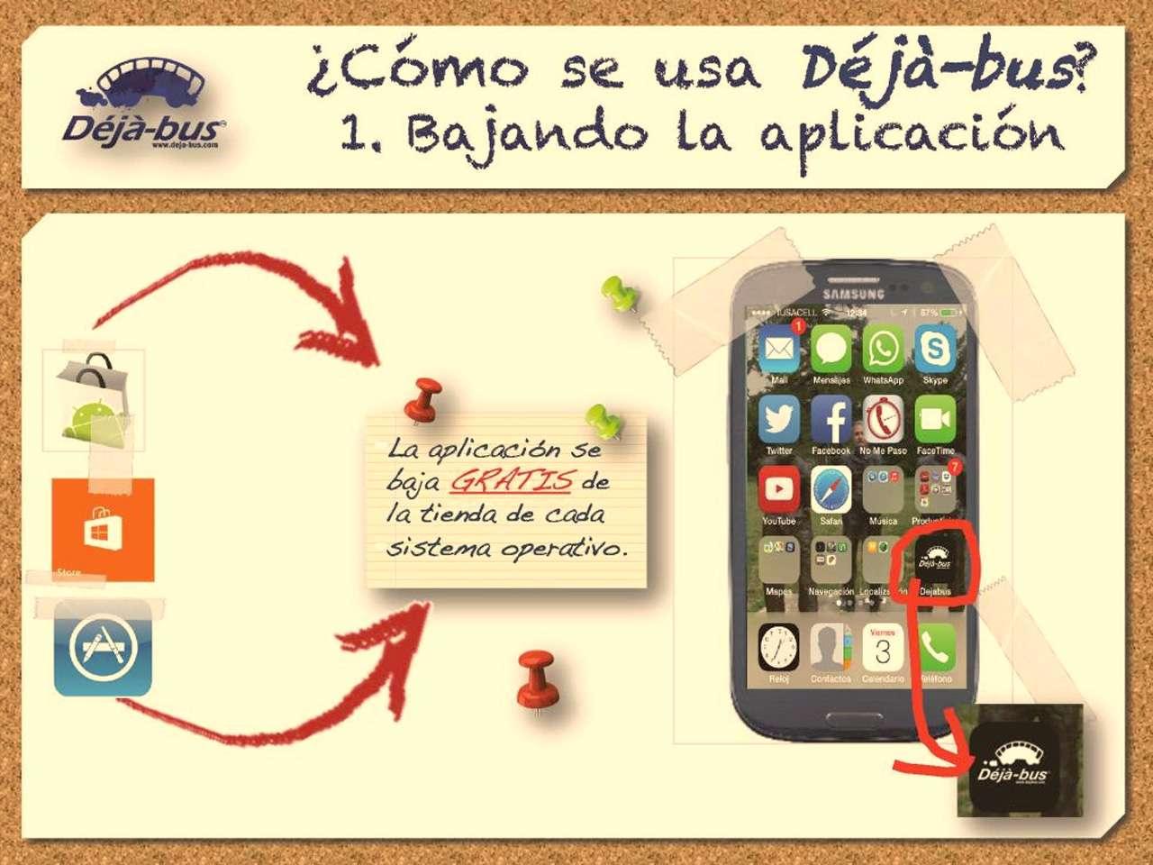La app es gratuita y se puede descargar en smartphone o tableta Foto: Déjà-bus