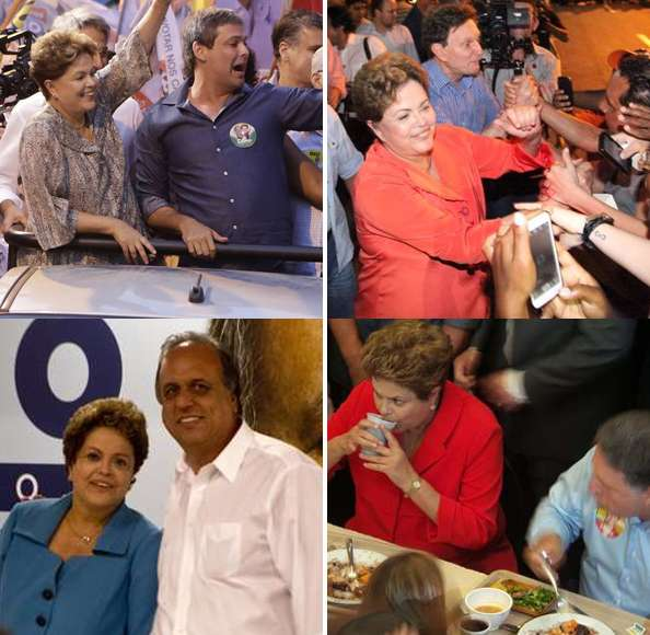 Dilma cumpriu sua promessa de campanha e fez um ato público com cada um dos candidatos ao governo do Rio Foto: Montagem / Divulgação