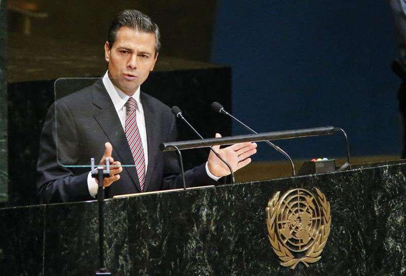 Peña durante la primera Conferencia Mundial sobre los Pueblos Indígenas en la ONU. Foto: EFE