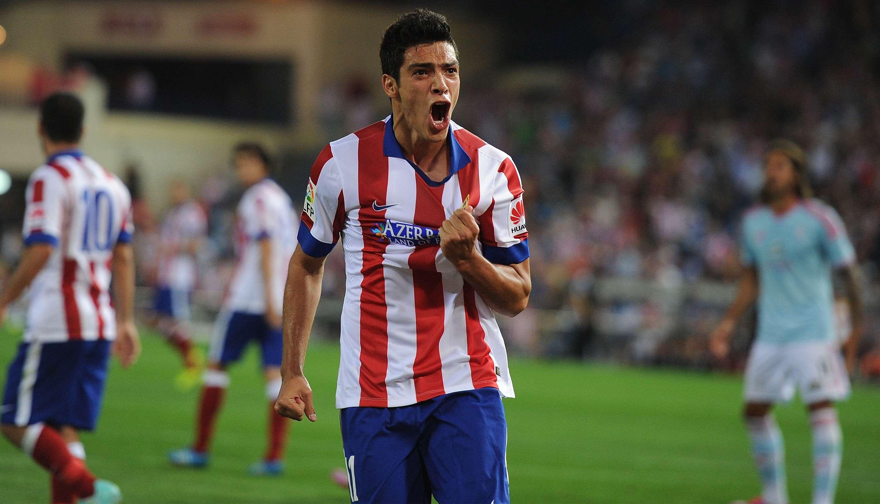 Raúl JIménez festeja un gol que le fue anulado en el empate del Atlético de Madrid ante Celta de Vigo. Foto: Getty Images