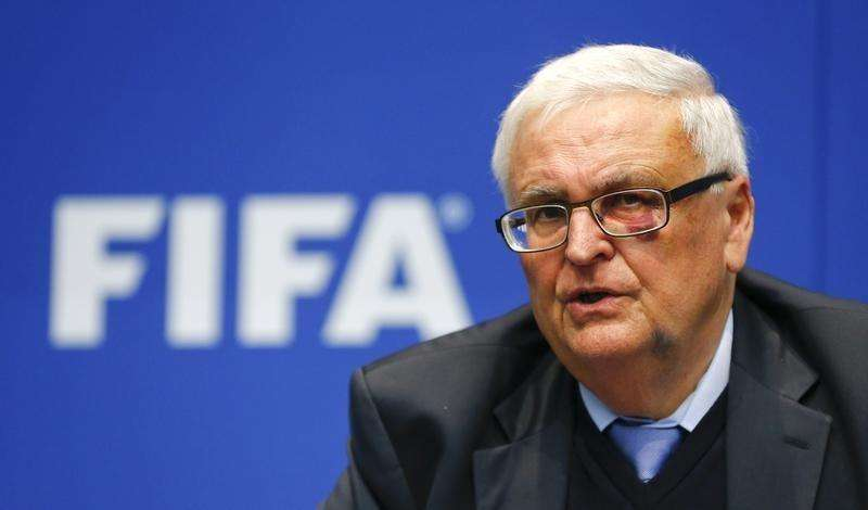 Theo Zwanziger, former president of the German Football Association (DFB) and member of the FIFA's executive committee addresses a news conference after a meeting of the FIFA executive committee in Zurich March 21, 2014. Foto: Arnd Wiegmann/Reuters