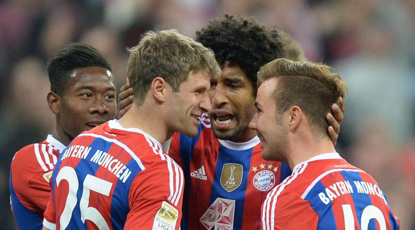 Jugadores del Bayern festejan la goleada. Foto: AFP