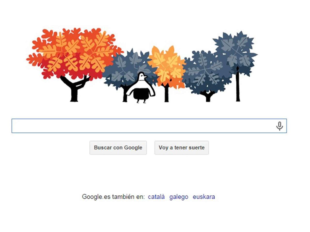 """En el doodle de este día, un hombre caricaturizado que cruza frente un grupo de árboles que cubren en esta ocasión las letras de la palabra """"Google"""" Foto: Imagen tomada de Google"""
