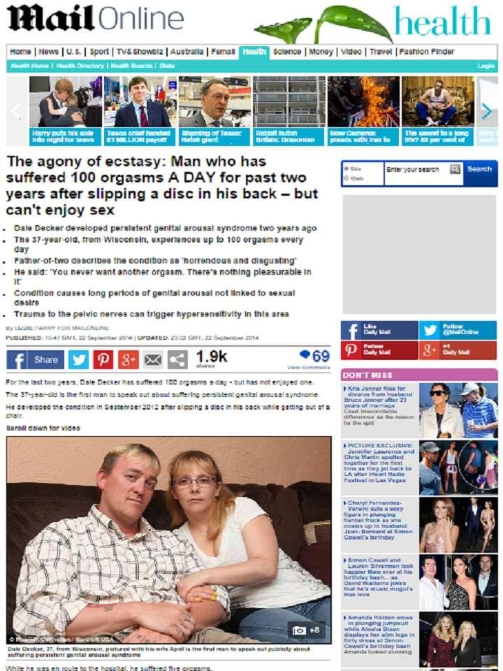 Un hombre originario de Wisconsin, Estados Unidos, sufrió un extraño padecimiento durante dos años que le provocaba casi 100 orgasmos al día. Foto: dailymail.co.uk