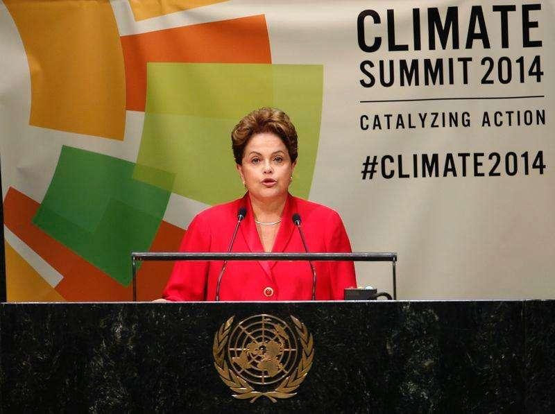 Presidente Dilma Rousseff durante pronunciamento na Cúpula do Clima da ONU, em Nova York. 23/09/2014. Foto: Mike Segar/Reuters