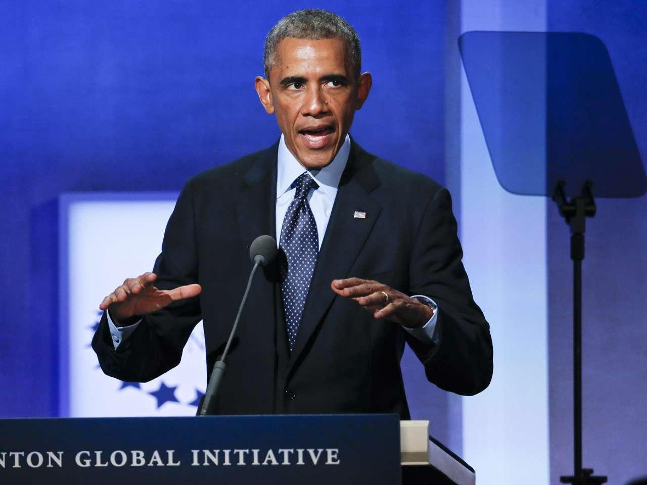 El presidente estadounidense, Barack Obama, habla durante un evento de la Iniciativa Global Clinton, en Nueva York Foto: EFE en español