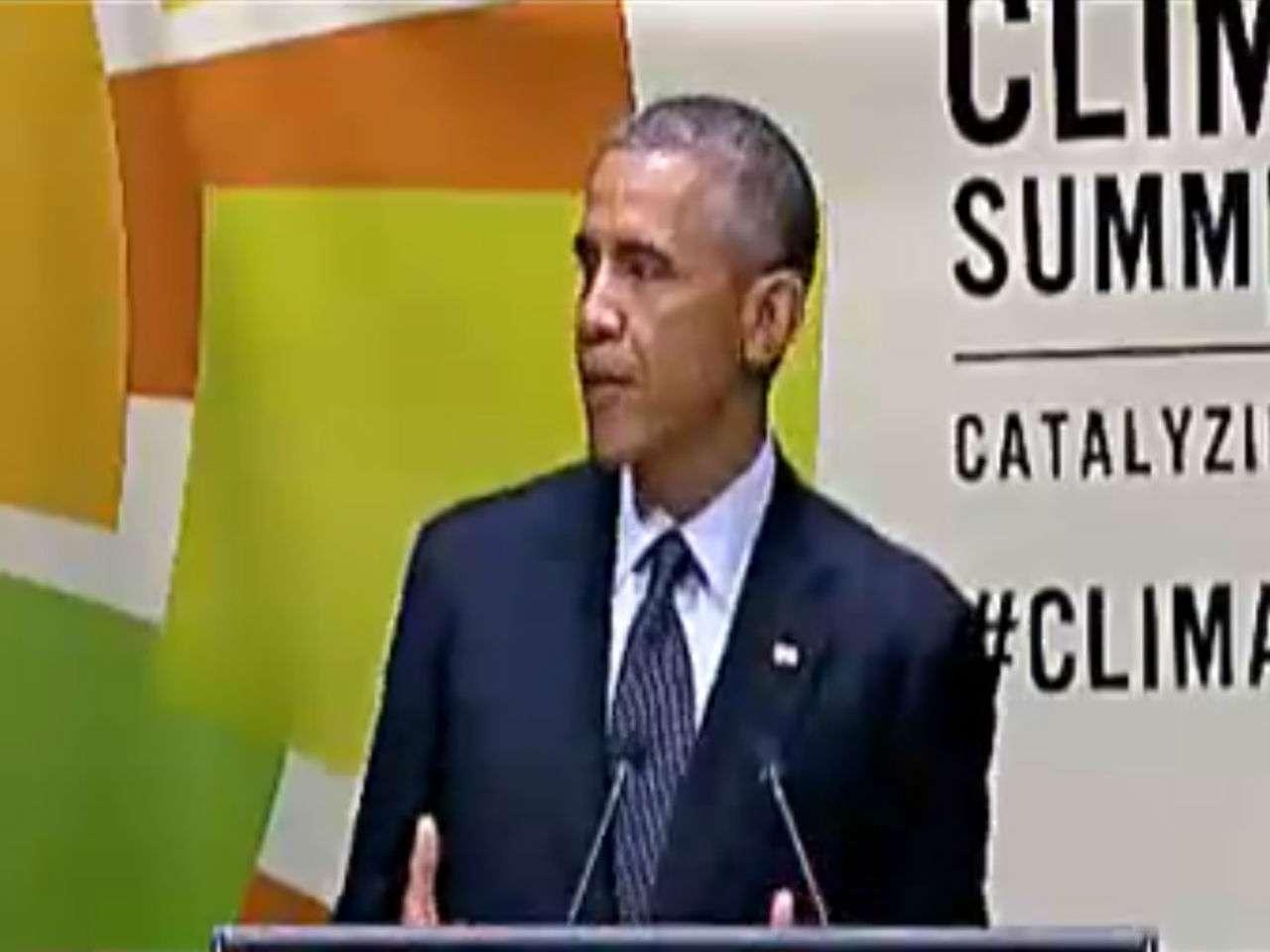"""""""Tenemos que trabajar juntos como una comunidad global"""", dijo Obama en su discurso en la sede de la ONU en Nueva York. Foto: Tomada del video original"""