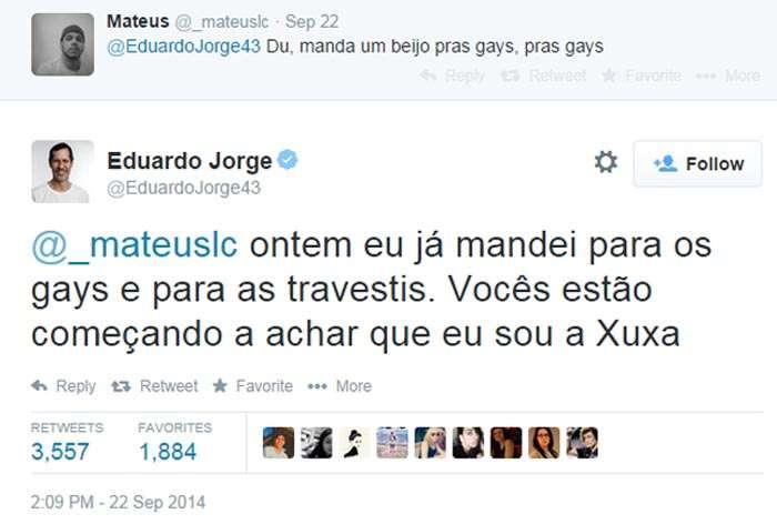 Eduardo Jorge se compara com Xuxa e arranca risos no Twitter Foto: Twitter/Reprodução