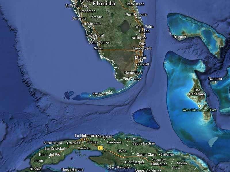 La cantidad de cubanos que han llegado a Estados Unidos o que han sido capturados en el mar casi se ha duplicado en los últimos 12 meses. Foto: Google Maps