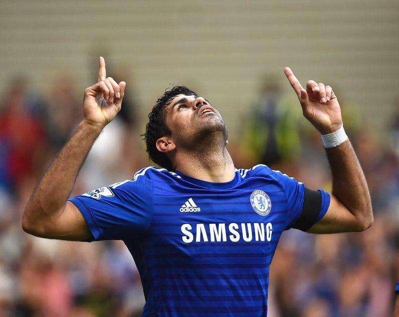 Atacante do Chelsea Diego Costa comemora gol marcado contra Swansea no Stamford Bridge. 13/09/2014 Foto: Toby Melville/Reuters