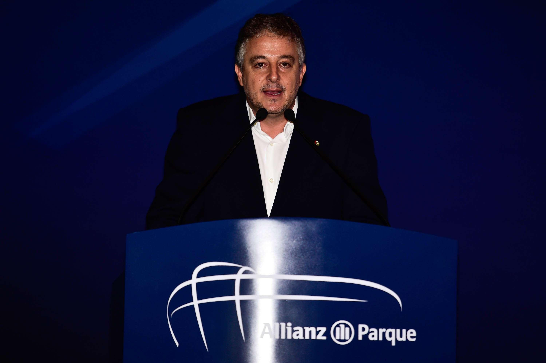 Paulo Nobre discursa durante evento no Allianz Parque Foto: Fernando Dantas/Gazeta Press
