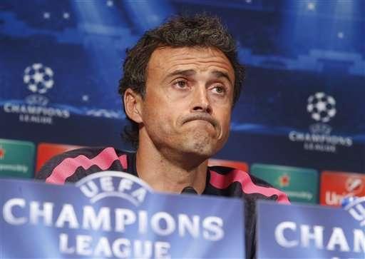 Luis Enrique, entrenador del FB Barcelona, en la rueda de prensa previa al partido frente al PSG de Champion League. Foto: AP en español