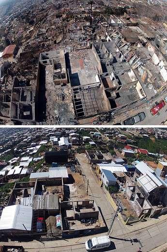Primera imagen tomada el 14 de abril de 2014 y la segunda realizada el día 20 de septiembre de 2014 del cerro Merced de Valparaiso donde muestra como se ha ido poblando y reconstruidos las casas tras el incendio del pasado 12 de abril de 2014 y que dejó más de 2900 viviendas destruidas, 12 500 personas damnificadas,15 víctimas fatales y más de 500 heridos. Foto: Agencia UNO