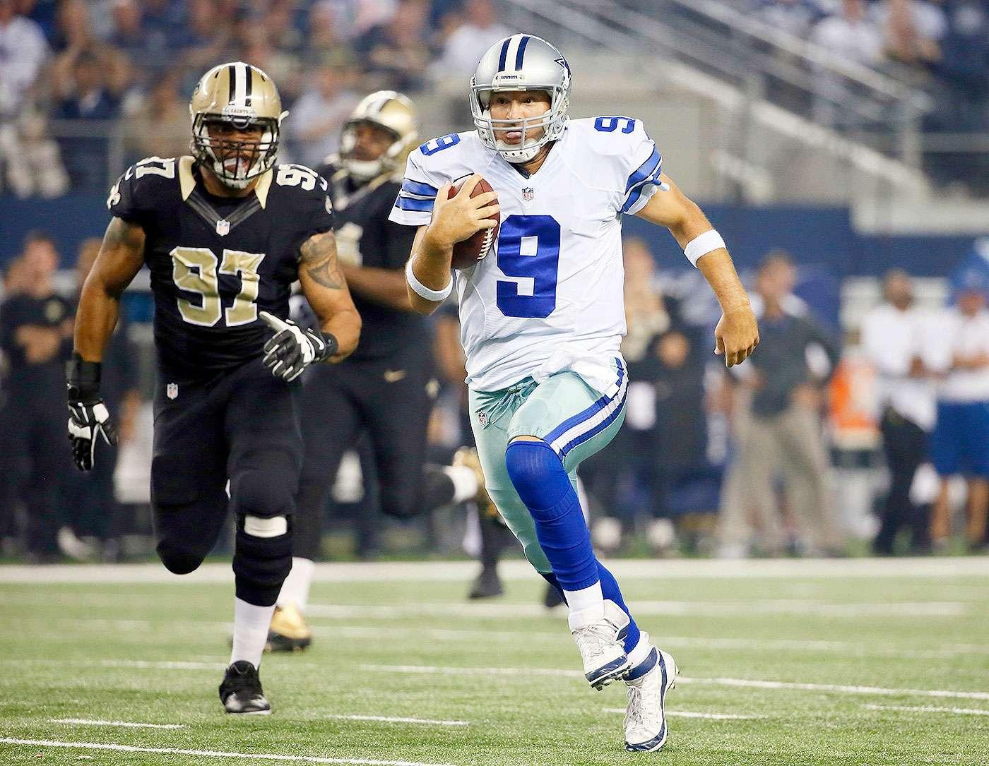 Tony Romo lanzó tres pases de touchdown dos de ellos a Terrance Williams y DeMarco Murray corrió para un par de anotaciones en otra actuación de 100 yardas para que los Dallas Cowboys vencieran por 38-17 a los New Orleans Saints en la semana 4 de la NFL 2014. Foto: AP