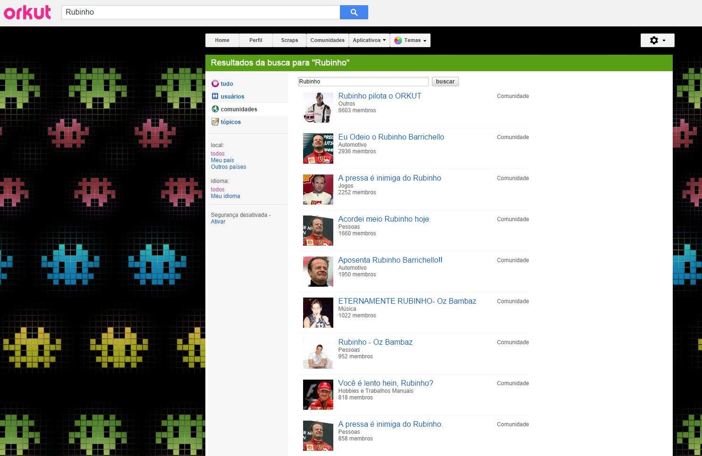 Piloto e comentarista, Rubens Barrichello pediu a retirada de comunidades do Orkut - a rede social deixa de existir a partir das 10h30 desta terça-feira Foto: Orkut/Reprodução