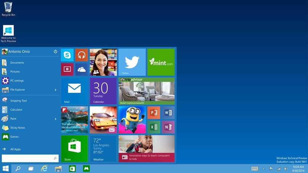 Após reclamação dos usuários, Menu Iniciar retorna no Windows 10 Foto: Microsoft/Divulgação