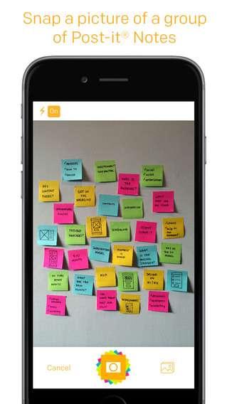Post-It Plus consegue organizar ideias ao capturar os adesivos do usuário via câmera de seu dispositivo móvel Foto: App Store/Divulgação