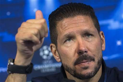 Atletico's coach Diego Simeone gestures during a press conference ahead of Wednesday's Champions League soccer match between Atletico Madrid and Juventus, in Madrid, Spain, Tuesday, Sept. 30, 2014. Foto: Andres Kudacki/AP en español