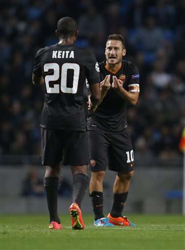 Totti durante el partido frente al City en Champions League Foto: AP en español