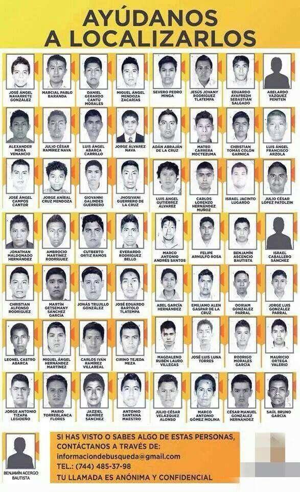 Estudiantes de la Escuela Normal Raúl Isidro Burgos reportados como desaparecidos. Foto: Ceteg Acapulco/Facebook