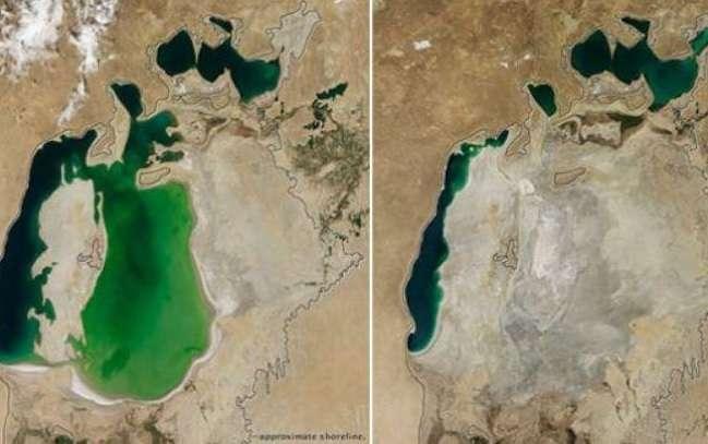 Imagens começaram no início dos anos 2000: em um pouco mais de uma década mostram que a água está quase acabando Foto: Twitter