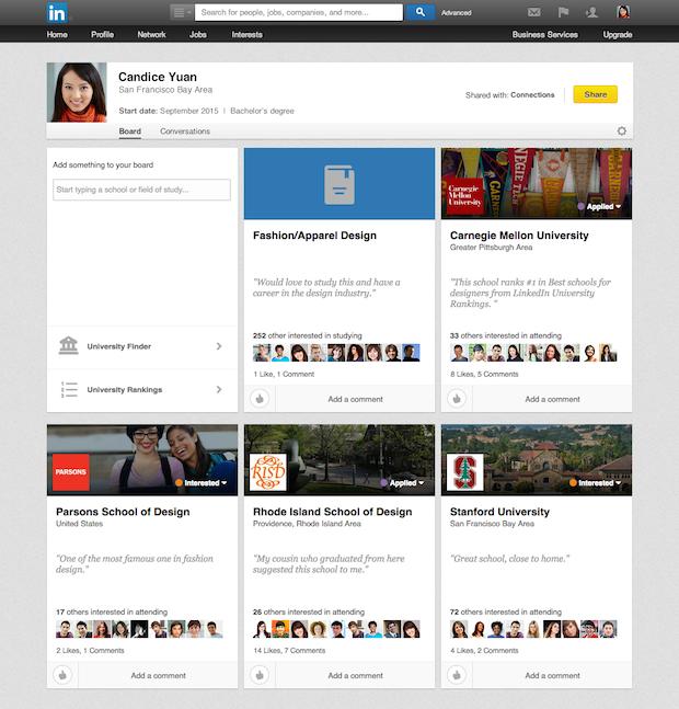 Agora, a pessoa pode localizar as instituições, ver as classificações delas por área e explorar as áreas de estudo Foto: Linkedin/Divulgação