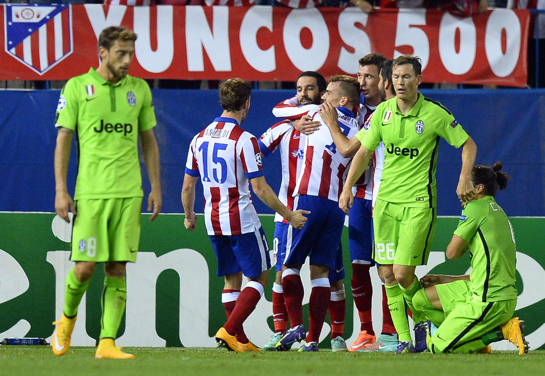 Jogadores do Atlético de Madrid comemoram vitória sobre a Juventus Foto: Gerard Julien/AFP