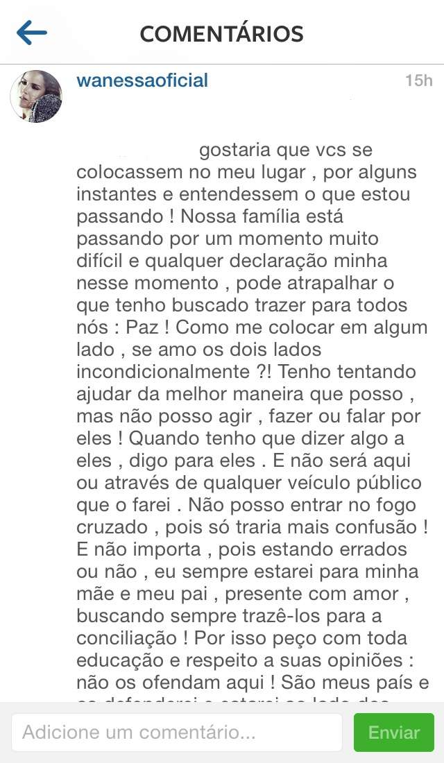 Wanessa Camargo desabafa no Instagram Foto: Instagram/Reprodução