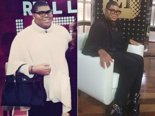 E.J. Johnson antes da cirurgia, em foto de fevereiro deste ano (à esq.), e depois, em imagem de 30 de setembro Foto: @ejjohnson_/Reprodução
