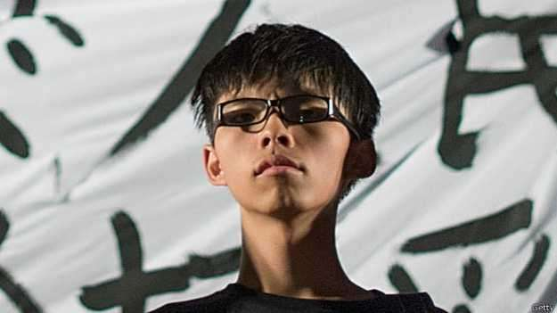 O líder do movimento que agita Hong Kong, Joshua Wong, tem apenas 17 anos Foto: BBC/Getty Images